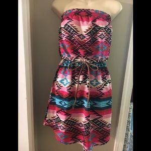 Xhilaration Dresses - Vibrant Aztec Strapless Sundress